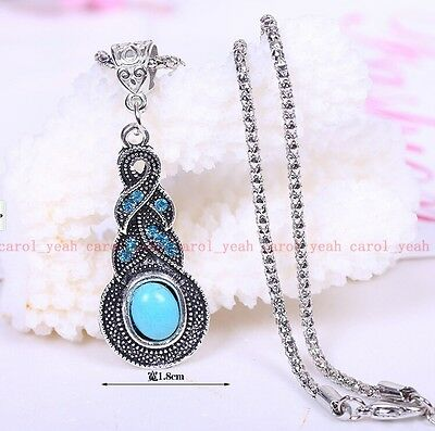 Christmas!Tibet silver inlaid natural turquoise girl& women necklace pendant Y07