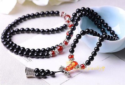 6 mm 108 Natural red agate black stone bracelet beads energy malas buddhist