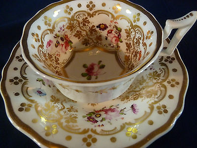 ANTIQUE RARE YATES TEA CUP AND SAUCER H.P. FLORAL LONDON SHAPE  LUSH  GILT c1825