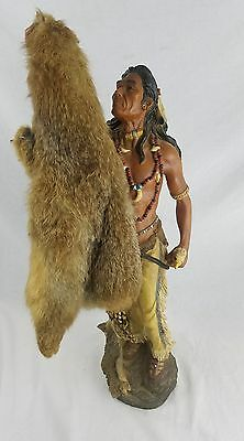 "Vintage Native American Statue Indian Figurine Hunter 24"" Tall"