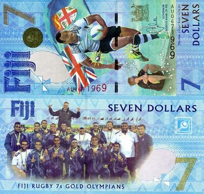 New Uncirculated FIJI $7 Dollars 2017 Commemorative Rugby 7s  Banknote Currency