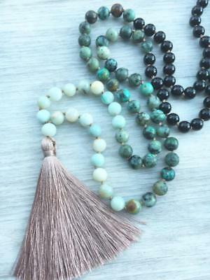 Mala Amazonite Turquoise 108 bead tassel necklace chakra yoga meditation