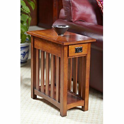 Leick Home Solid Ash Mission Chairside End Table, Oak, 12 inches