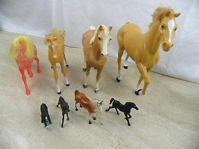 Lot Of 8 Horses Breyer, Barbie Most Vintage Large To Miniature R