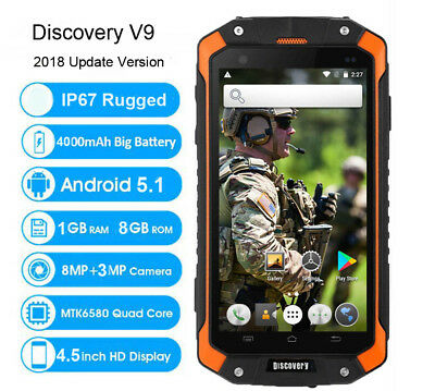 3G Android Rugged Smartphone Waterproof Quad Core Discovery V9 Unlocked 4.5Inch