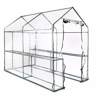 Walk In Greenhouse Garden Green House Plant House Shed PVC Cover Apex Roof
