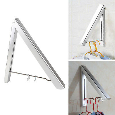 NEW Stainless Folding Wall Hanger Mount Retractable Clothes Indoor Hang Alu