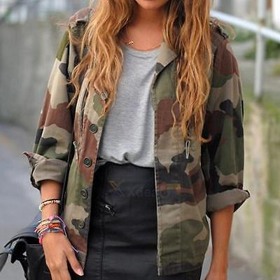 Womens Vintage Loose Camouflage Ladies Army Camo Bomber Jackets Outwear new