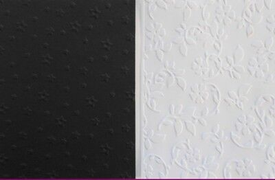 *BLACK & WHITE* EMBOSSED PAPER x 10 - SCRAPBOOKING/CARDS/PAPERCRAFTS