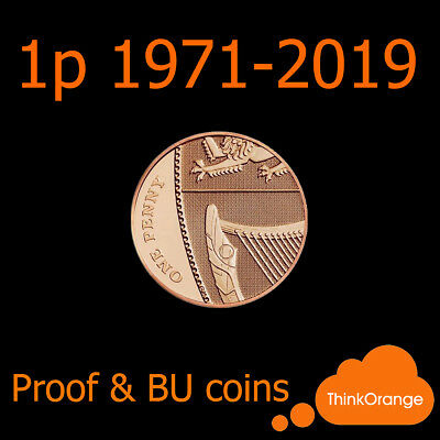 *UK PROOF & BU 1p One Pence Coins 1971-2019 Coin Hunt - select year*
