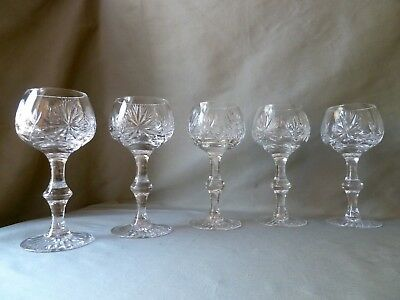 "5 Edinburgh Crystal ""star Of Edinburgh"" Tall Wine/hock Glasses, Signed Old Mark"