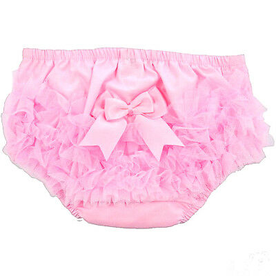 Baby Girls Frilly Pants Knickers Romany Pink Organza & Satin Bow Soft Touch 0-6m