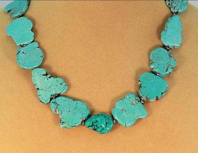 Natural turquoise necklace Chunky blue statement slab slice jewelry 20 Inches