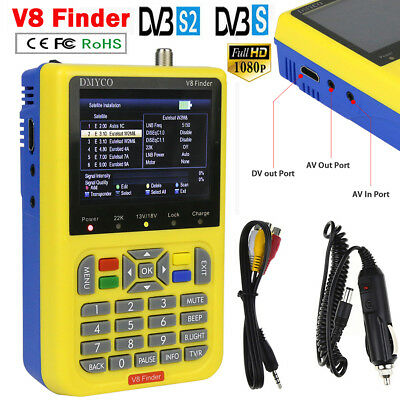 V8 Finder DVB-S2 HD Digital Signal Pointer Satellite Finder Decoder FTA LNB MPEG
