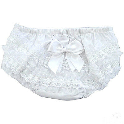 Baby Girls Frilly Pants Knickers Romany Cotton White Flower Bow Soft Touch 0-18m