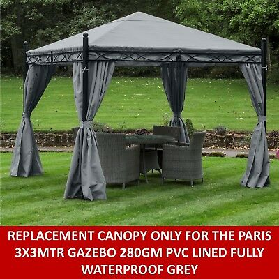 Gazebo Replacement Canopy Only 3X3 Mtr Paris Gazebo Pvc Lined Fully Waterproof
