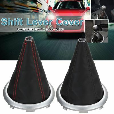 PU Leather Gear Shift Stick Lever Boot Cover For Suzuki Swift SX4 Black / Red