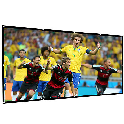 Projector Screen 120 Inch 16:9 Portable Home White 3D HD Movie Wall Projection