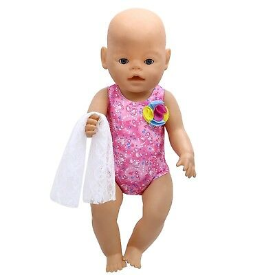 Puppenkleidung, Badeanzug+Tuch, pink, 43 cm, zb. Baby Born/Sister, NEU