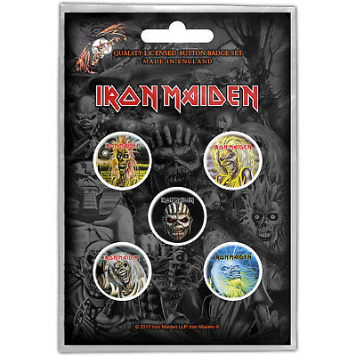 NEW Iron Maiden Button Badge Pack: The Faces of Eddie