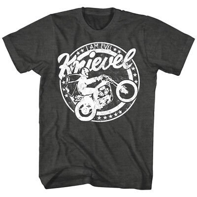 Evel Knievel Vintage Motorcycle Circle Men's T Shirt Stunt Bike Wheelie Black