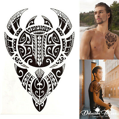 Polynesian Bull Temporary Tattoo, Warrior, Tribal Mens, Womens, Maori, Sticker