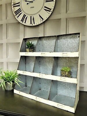 Industrial metal salvage storage 3 tier shelving Rack wall mounted 62cm wide