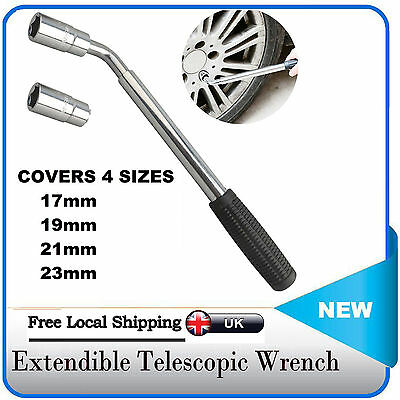 Telescopic Extendable Car Wheel Brace Socket Wrench Tyre Remover 17 19 21& 23mm