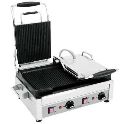 Commercial Kitchen Heavy Duty Large Ribbed Panini Press Grill
