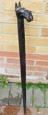 Very Rare Antique Black Forest Walking Stick. Scottie Dog with his Tounge out.