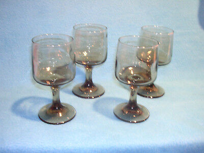 Set of four Libbey Wine / Cordial Green Glasses from 1970's, Vintage