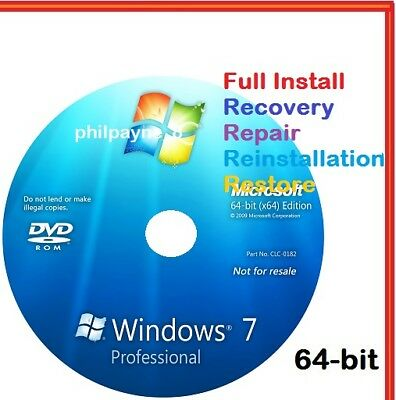Windows 7 Professional 64-Bit Bootable DVD SP1 FULL Install Repair 8 Recovery 10