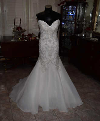 Maggie Sottero And Midgle Couture Bridal Gown Wedding Dress Size 8 Mermaid