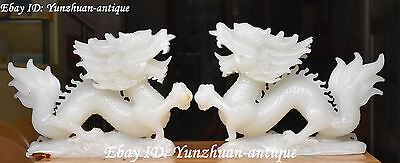 Excellent China Natural White Jade Hand Carving Dragon Loong Dragons Pair Statue