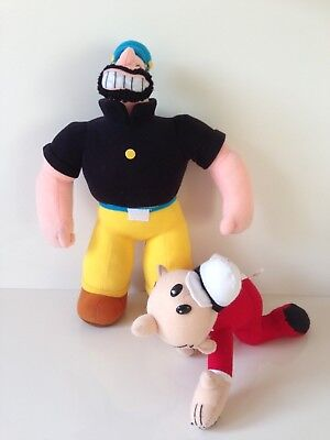 Rare 2002 Brutus and 1993 Swea Pea Plush Soft Toy Bundle From Popeye