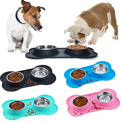 Stainless Steel Pet Dog Double Feeder Food Water Bowl No Spill Silicone Mat
