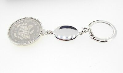 Key ring Anson Sterling silver coin holder frame 50 cent half dollar engraveable
