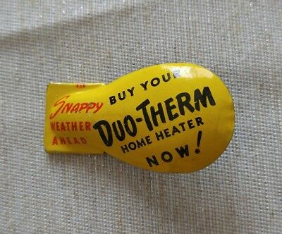 Vintage Duo-Therm Home Heater Tin Clicker Advertising Metal Collectible