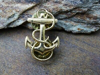 Rare Wwii Ww2 Era Scarce Krew Gold Tone Us Navy Anchor And Rope Lapel Pin Scarce