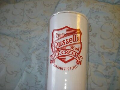 Russell's Rich Ice Cream 1940's Advertising 16 oz Measuring Glass