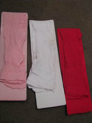 Bnip Girls 3 Rib Tights Stockings Size 1 - 2 12 Months - 2 With Feet Pink White