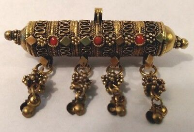 Exotic Asian Snuff Box Poison Perfume Pin Necklace Pendant Silver Gold Vermeil