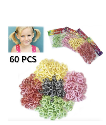60 Hair Band Bobbles Mini Elastic Band Crunchy Kids Ponytail Hair Ties Stretchy Women's Accessories Kids' Clothing, Shoes & Accs