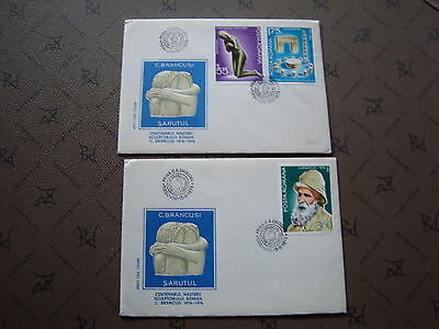 ROMANIA 2 envelopes 15/11/76 - Stamp Yvert and Tellier n°2949 2950 2951 (cy2)