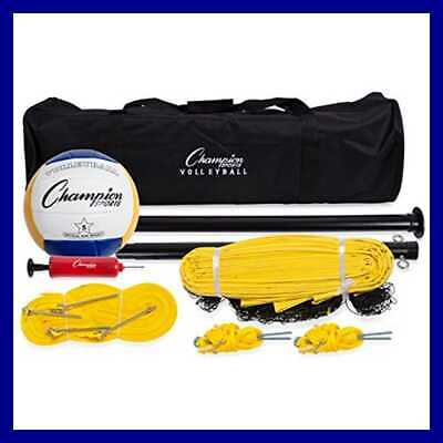 Champion Sports Outdoor Volleyball Set: Complete Portable Team Set with Net, Pol