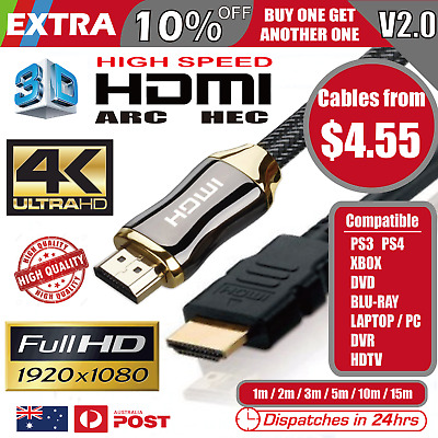 HDMI Cable V2.0 3D Ultra HD 4K 2160p 1080p High Speed with Ethernet HEC ARC
