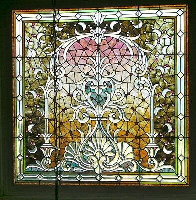 ANTIQUE 19th CENTURY  BEVELED, JEWELED&CRESCENT MOONS LARGE STAINED GLASS WINDOW