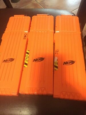 Nerf Lot of 3 Orange 18 Round Max Dart Ammo Clip Magazine Replacement