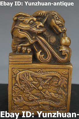 China Pure Bronze Ancient Dragon Pixiu Beast Dynasty imperial Seal Stamp Signet
