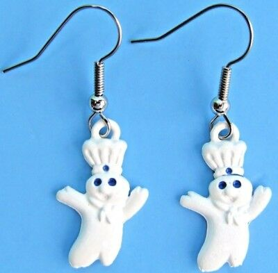 new 1996 pillsbury doughboy poppin fresh pierced earrings dough boy